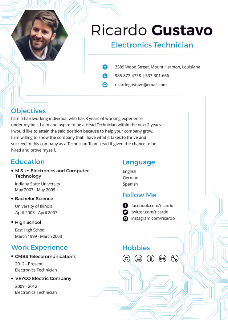 free electronic technician resume cv template in photoshop