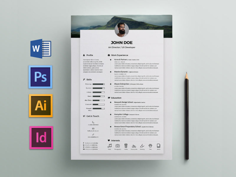 Free Elegant Job Resume CV Template In Photoshop PSD Illustrator AI Microsoft Word And Indesign Formats
