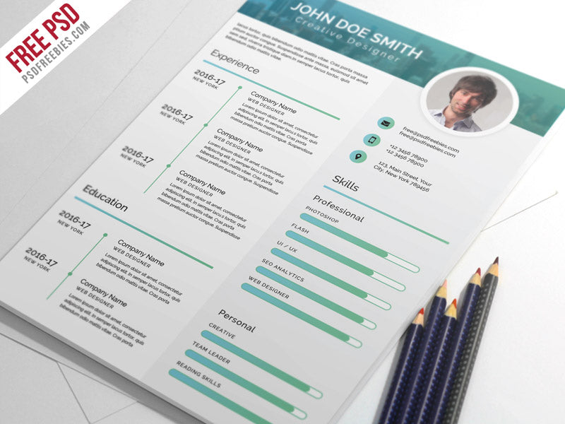 Free Elegant And Modern CV Resume Template In Photoshop PSD Format