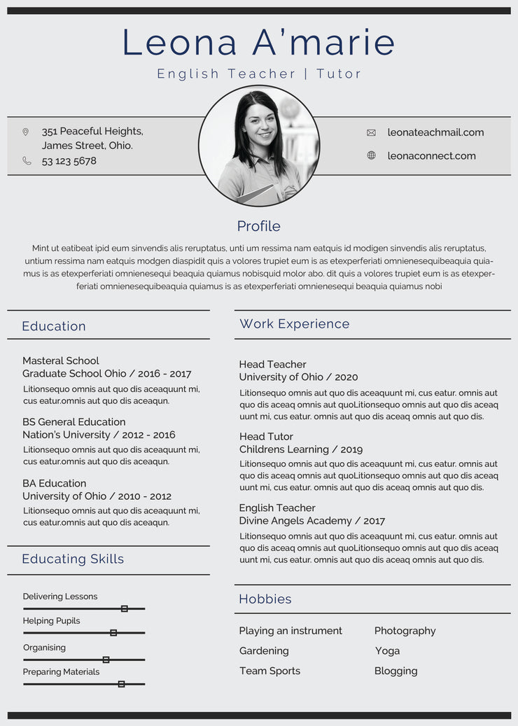 free english teacher resume cv template in photoshop  psd  format