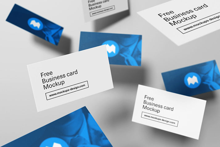 Free stationery mockups creativebooster free colelction of flying business card mockups reheart Image collections