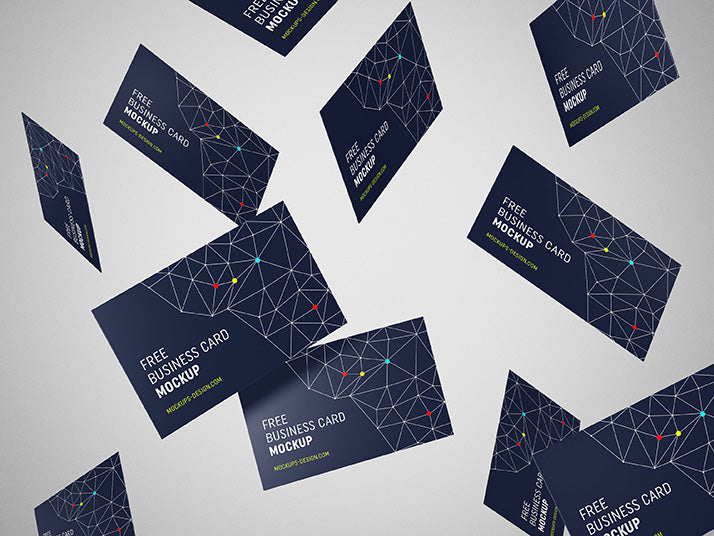 Free set of flying business card mockups creativebooster free set of flying business card mockups reheart Choice Image