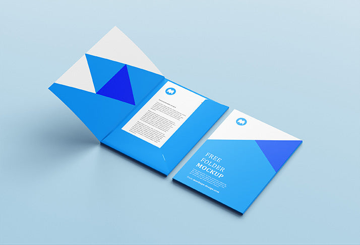 free open and closed folder mockup includes cover page creativebooster