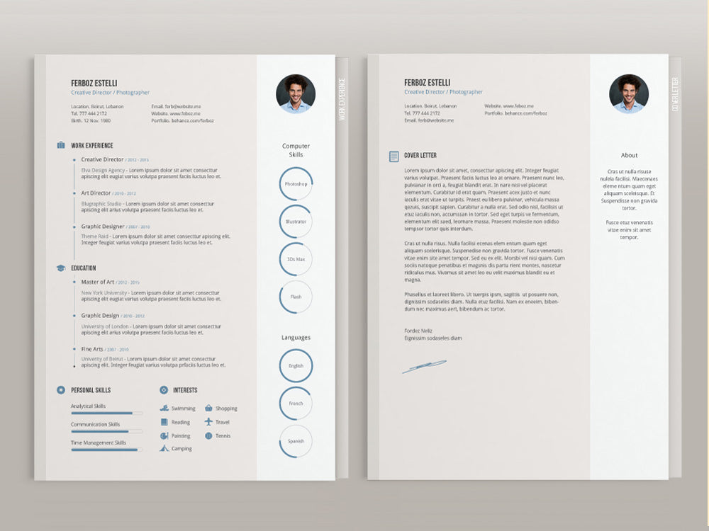 free creative four pages resume cv template with cover letter in illus