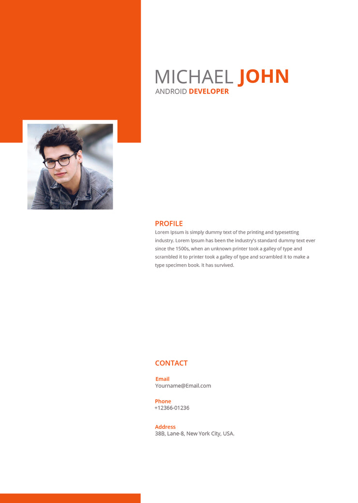 free android developer resume cv template in photoshop psd microsoft word and indesign formats