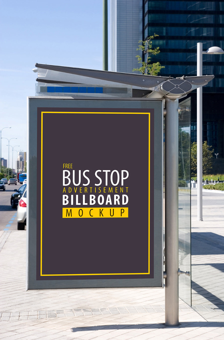 free bus stop advertisement sign mockup