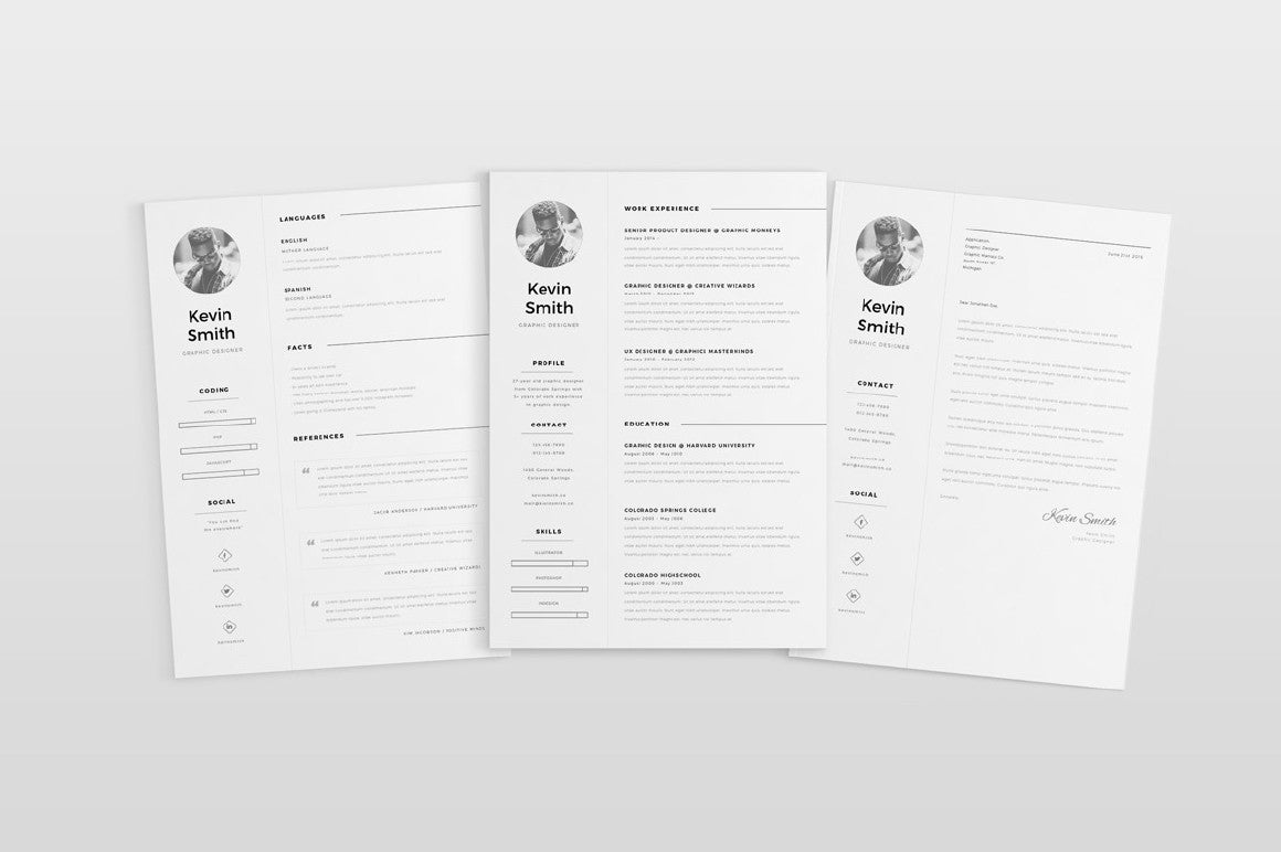 free clean and minimal resume template - creativebooster