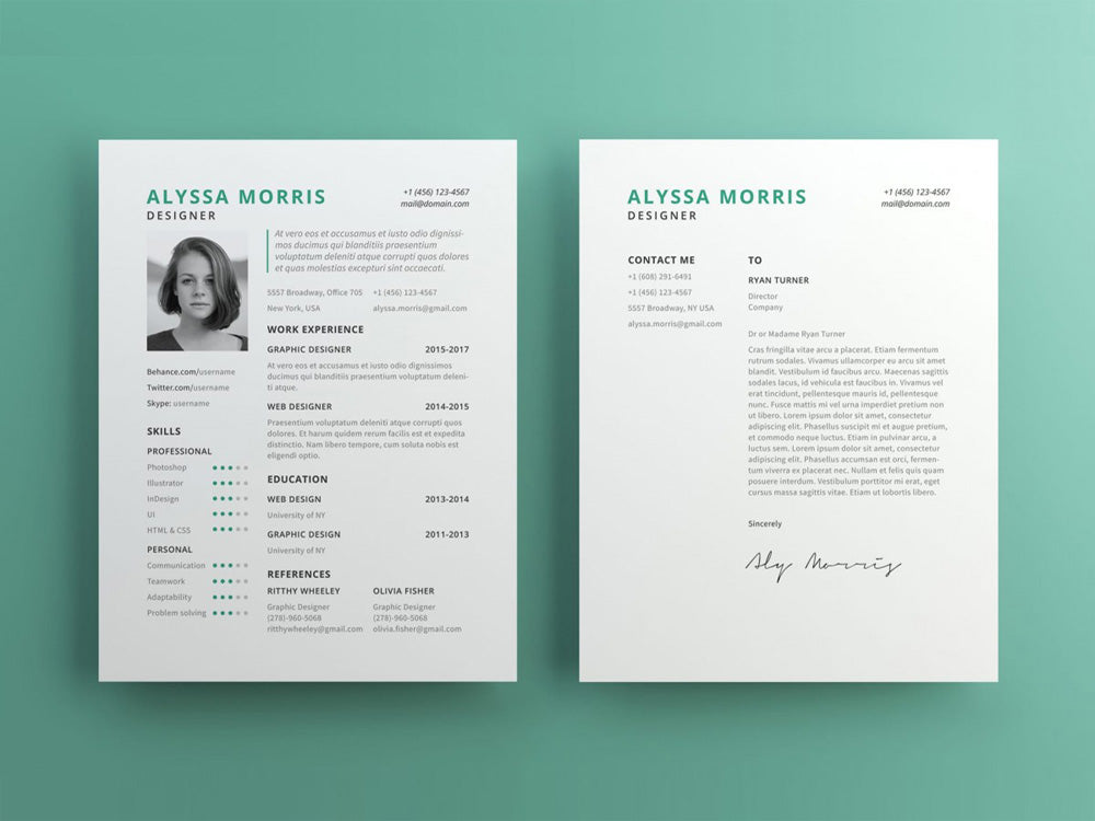 Free Clean Minimal Photo Resume CV Template With Cover Letter In Illustrator AI Format