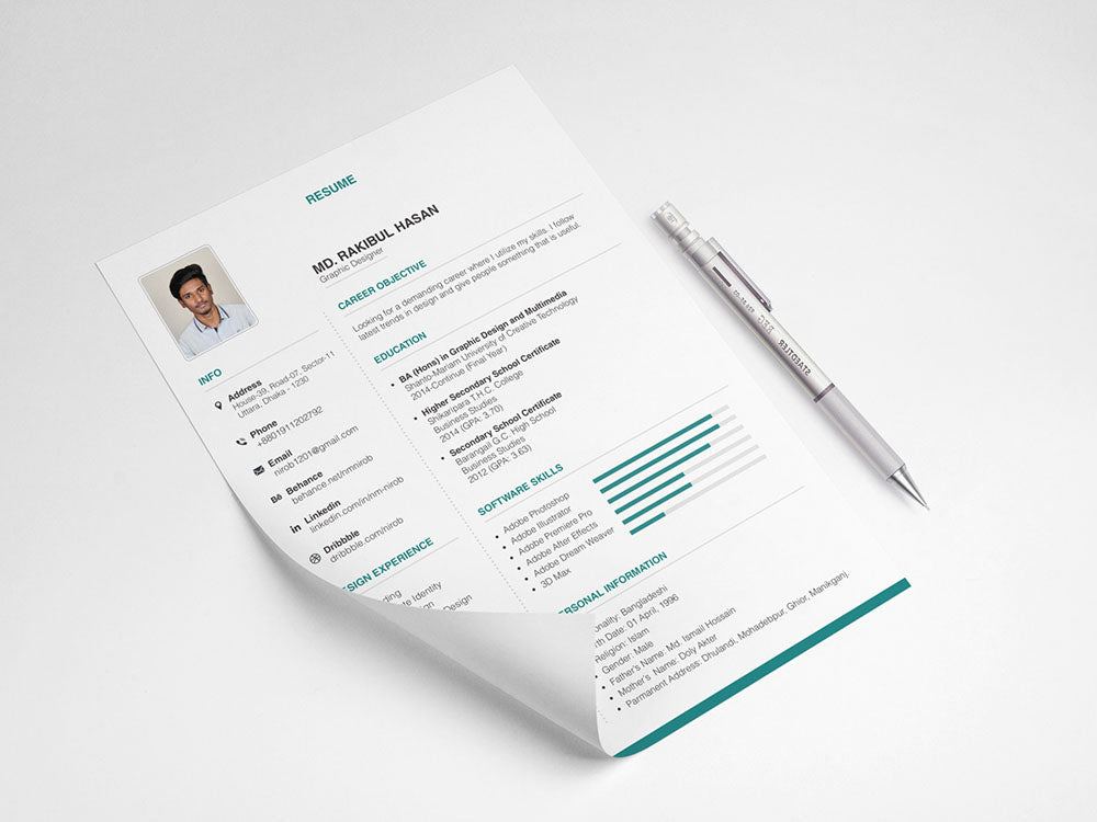 Free Elegant and Stylish Resume CV Template in Illustrator