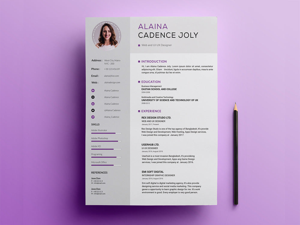 free professional resume cv template with clean design in