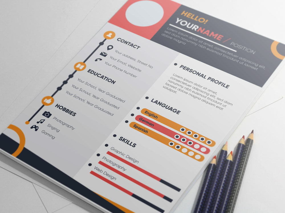 free colorful infographic resume cv template for job
