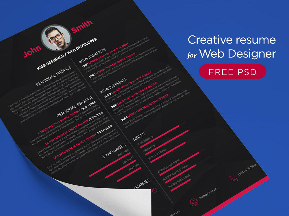 free dark cv resume template with minimalistic style design in photoshop psd format - Free Designer Resume Templates