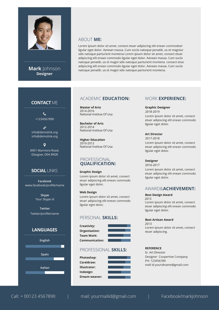 free designer resume cv template in photoshop  psd  and