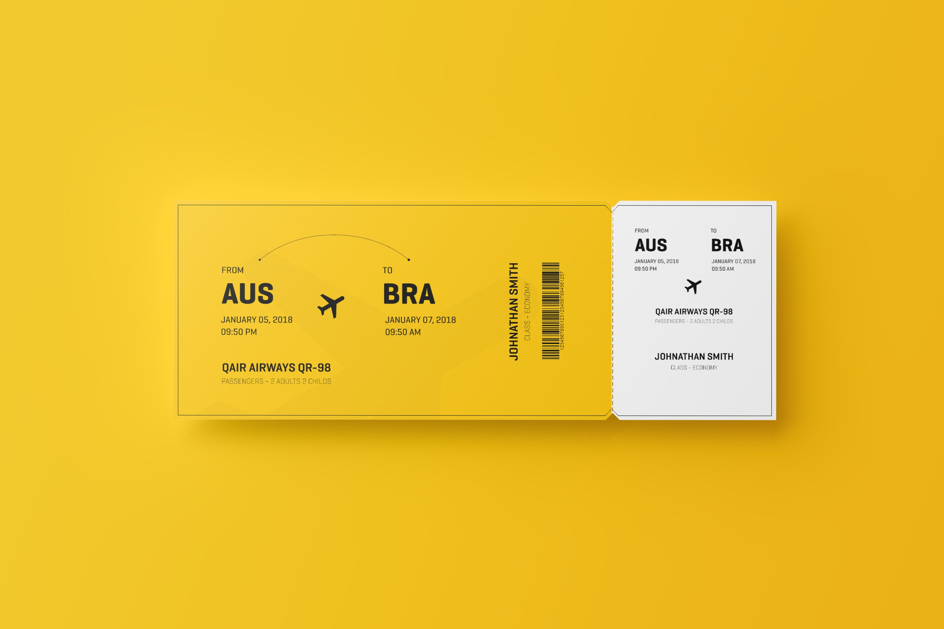 free event or travel ticket mockup