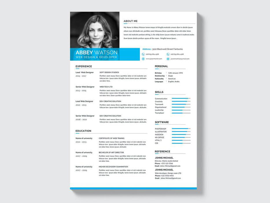 Free Formal Resume Cv Template With Clean And Professional Look In