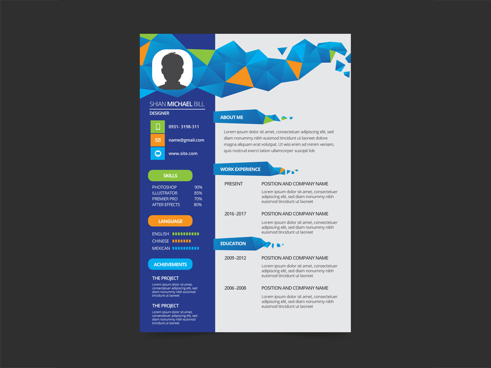 free geometric cv resume template with flat style design in illustrato