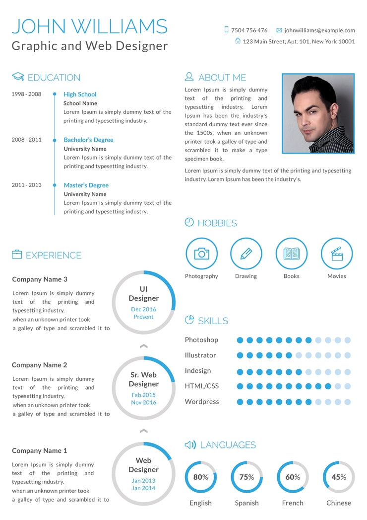 Free Graphic and Web Designer Resume CV Template in