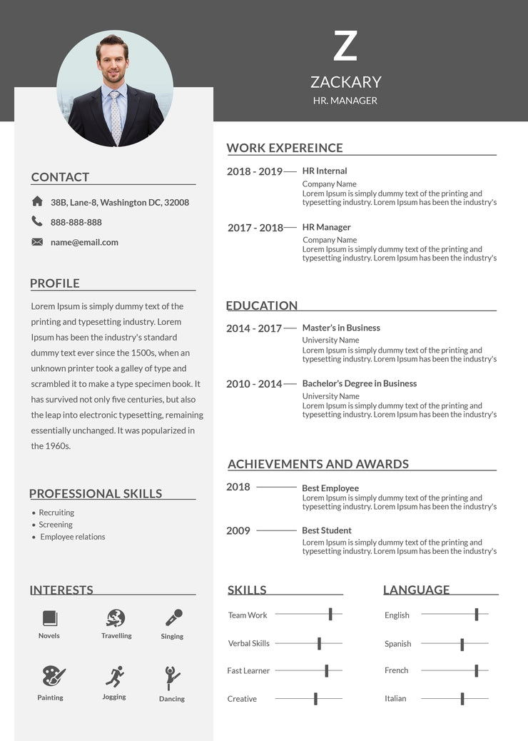 free hr manager resume cv template in photoshop  psd