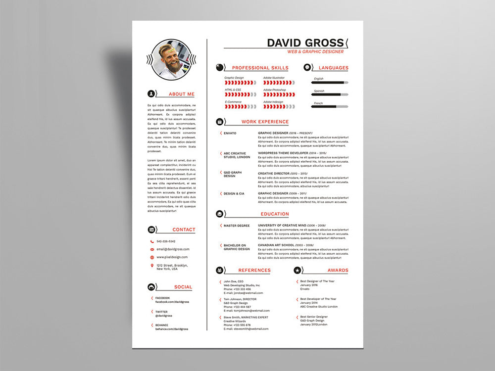 free hipster style resume cv template with cover letter in photoshop psd illustrator