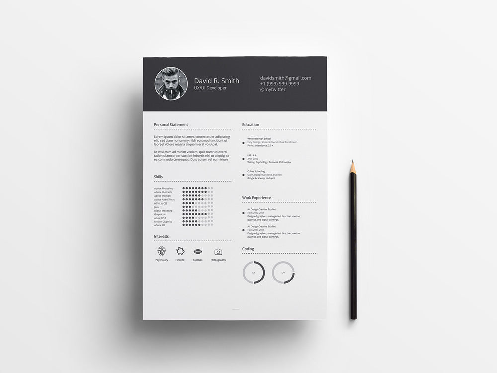 free infographic cv resume with simple minimal style