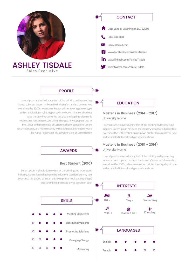 Free Mba Sales Executive Resume Cv Template In Photoshop