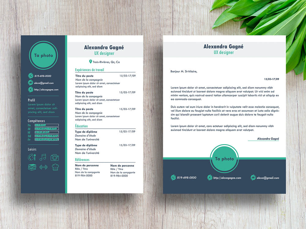 Free Modern CV Resume Template With Cover Letter Page In Illustrator