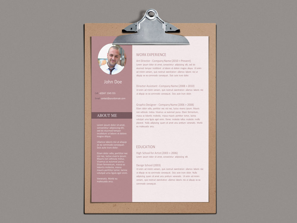 Free Modern Professional Photo CV Resume Template In Microsoft Word (DOC)  Format
