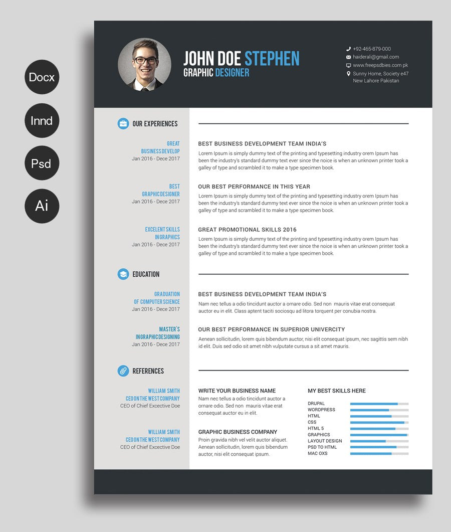 free microsoft word resume and cv template for photoshop  psd  and ill