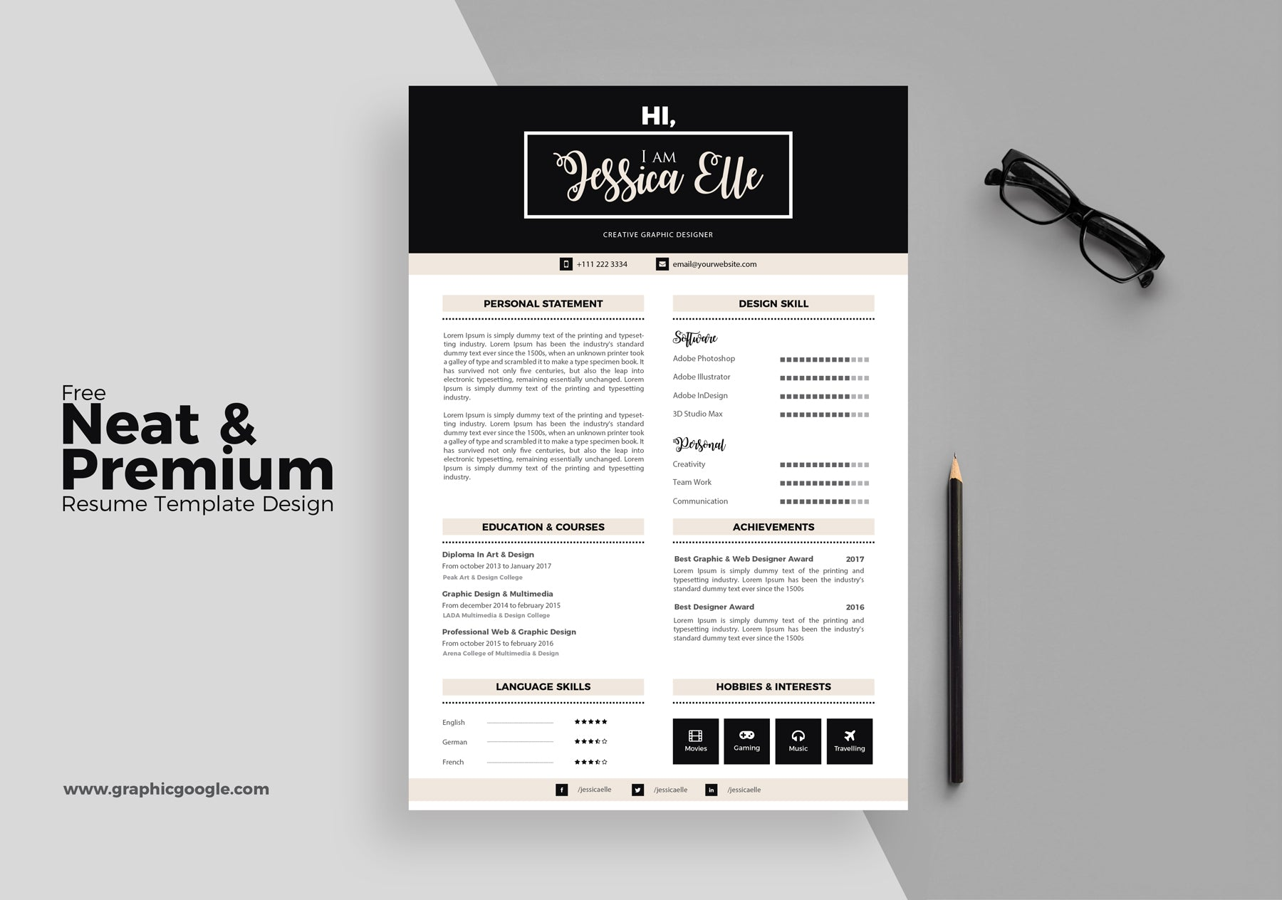 Free Neat And Premium Resume Template Design In Illustrator