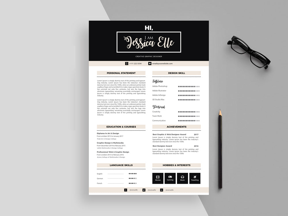 Free Modern Feminine Resume CV Template With Cover Letter In Illustrator AI Format