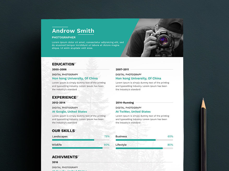 Free Clean Photographers Resume CV Template In Photoshop PSD Format