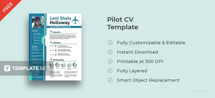 Free Pilot Resume CV Template In Photoshop (PSD) And Microsoft Word Formats