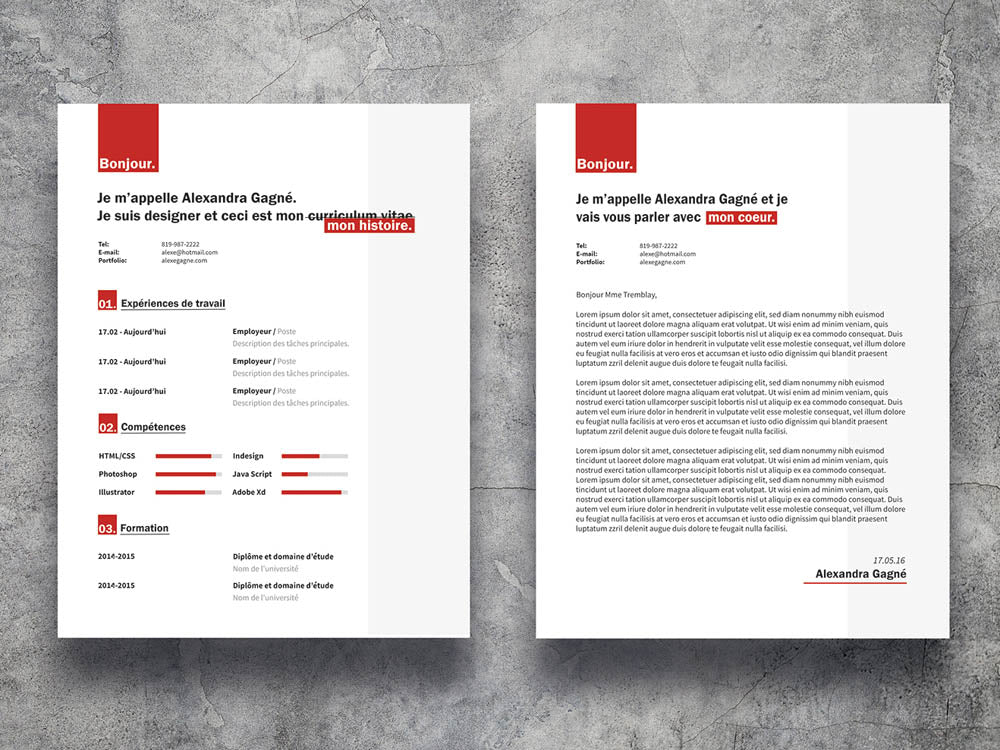 Free Red Resume Cv Template With Cover Letter In Illustrator