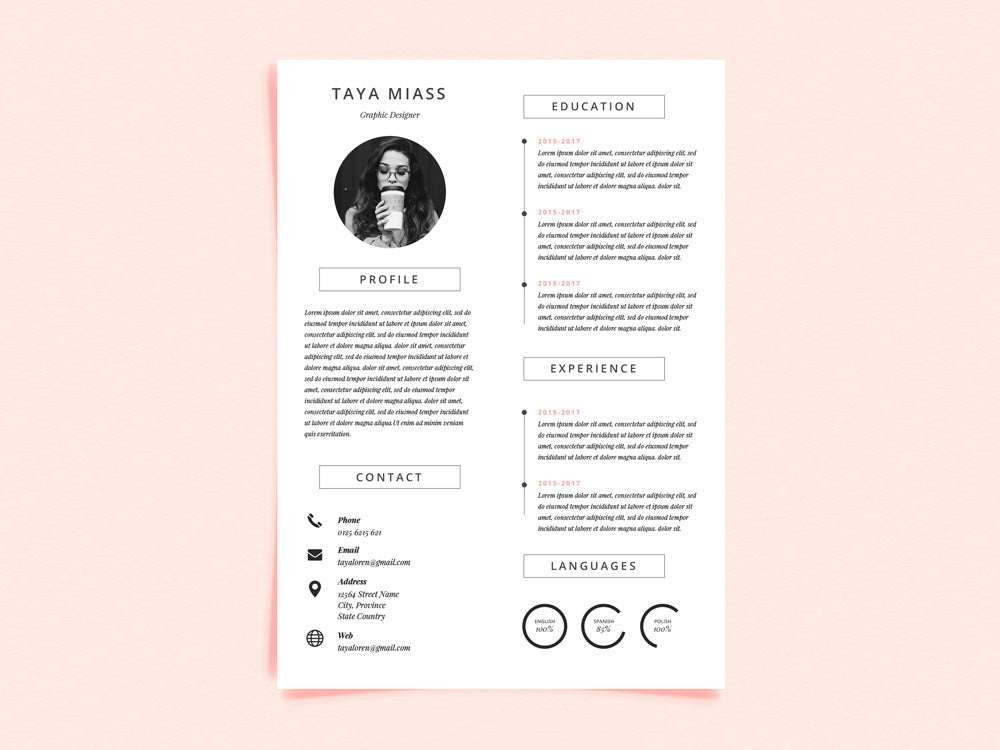 free super minimal photo resume cv template in illustrator