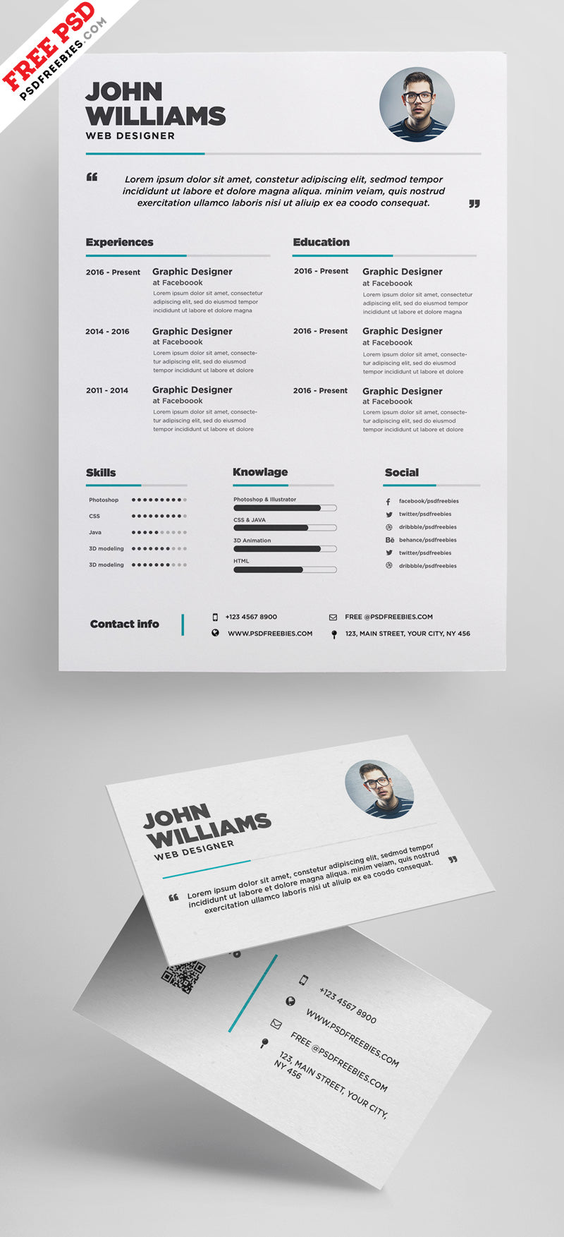Free cv resume and business card design templates in photoshop psd free cv resume and business card design templates in photoshop psd format wajeb Image collections