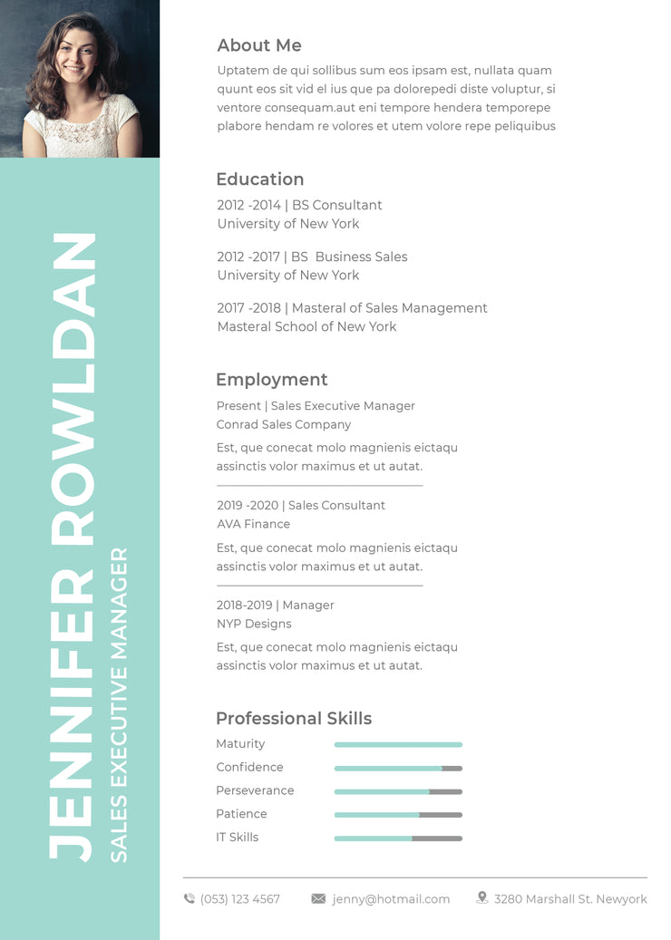 Free Sales Executive Resume CV Template In Photoshop PSD And Microso