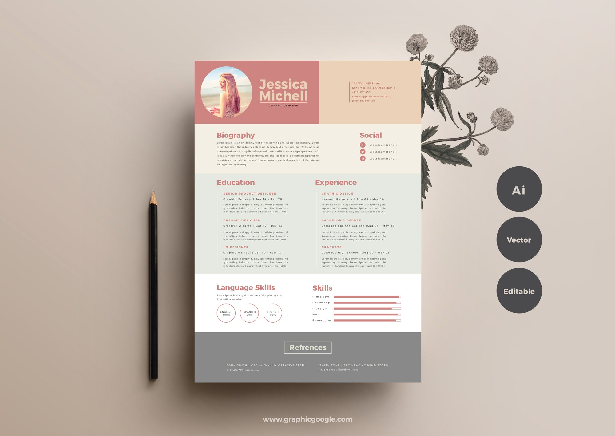 free simple and elegant resume template in illustrator ai format