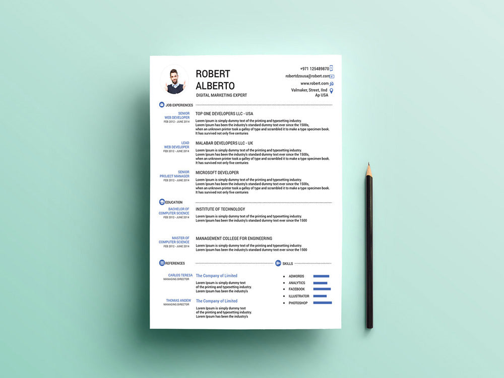 Free Marketing CV Resume Template With Matching Cover Letter In Illustrator AI Format