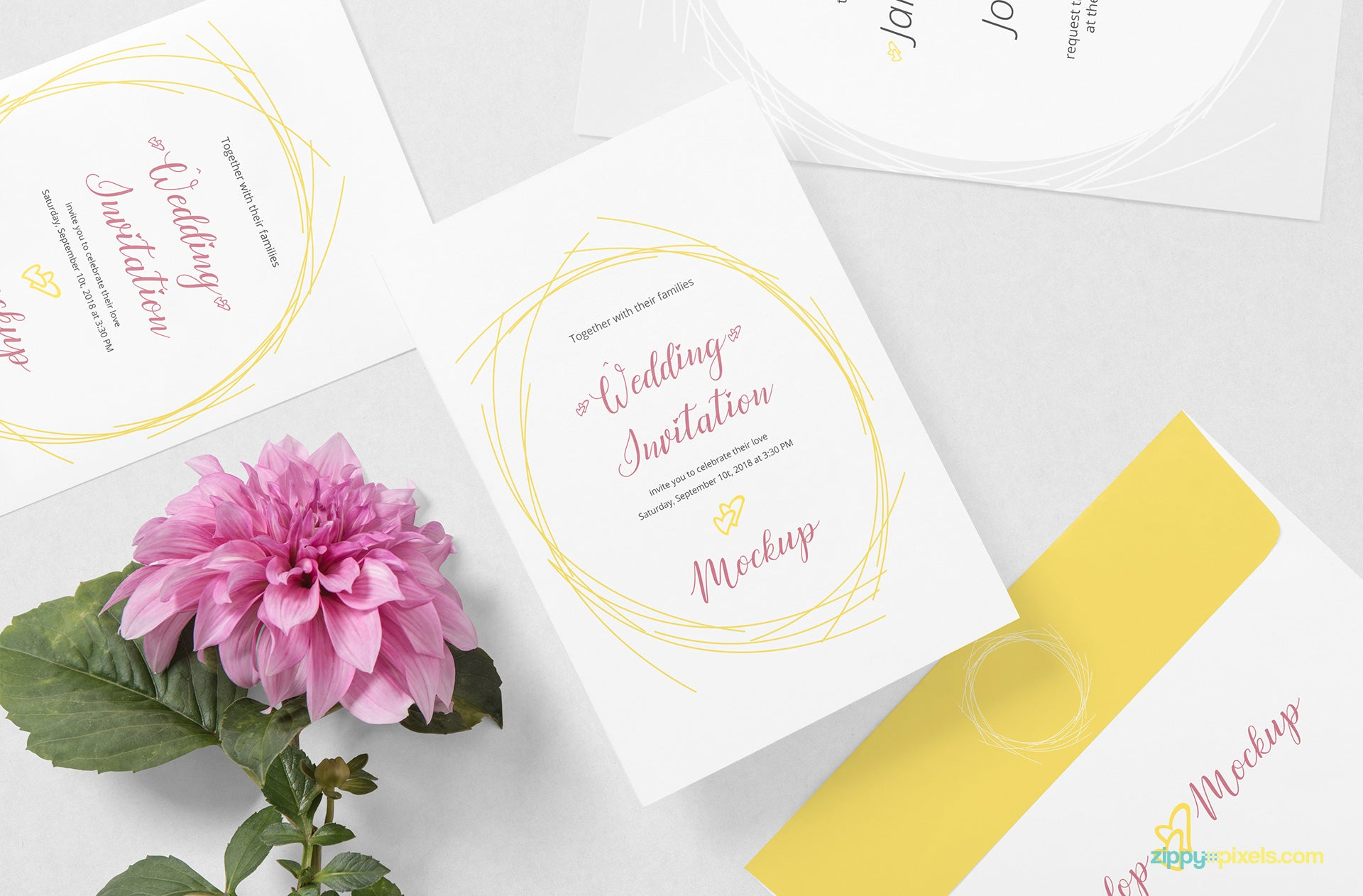 Free Wedding Card Mockup PSD CreativeBooster