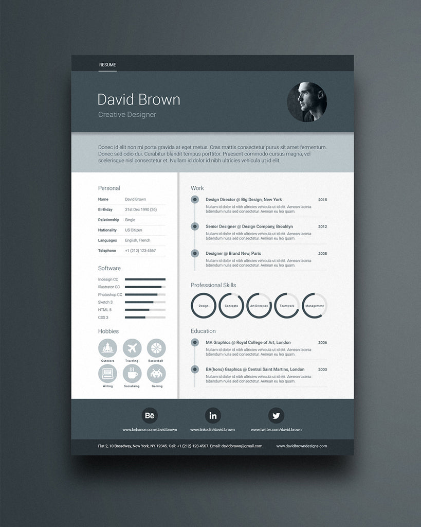 free material resume template in photoshop psd illustrator ai and indesign