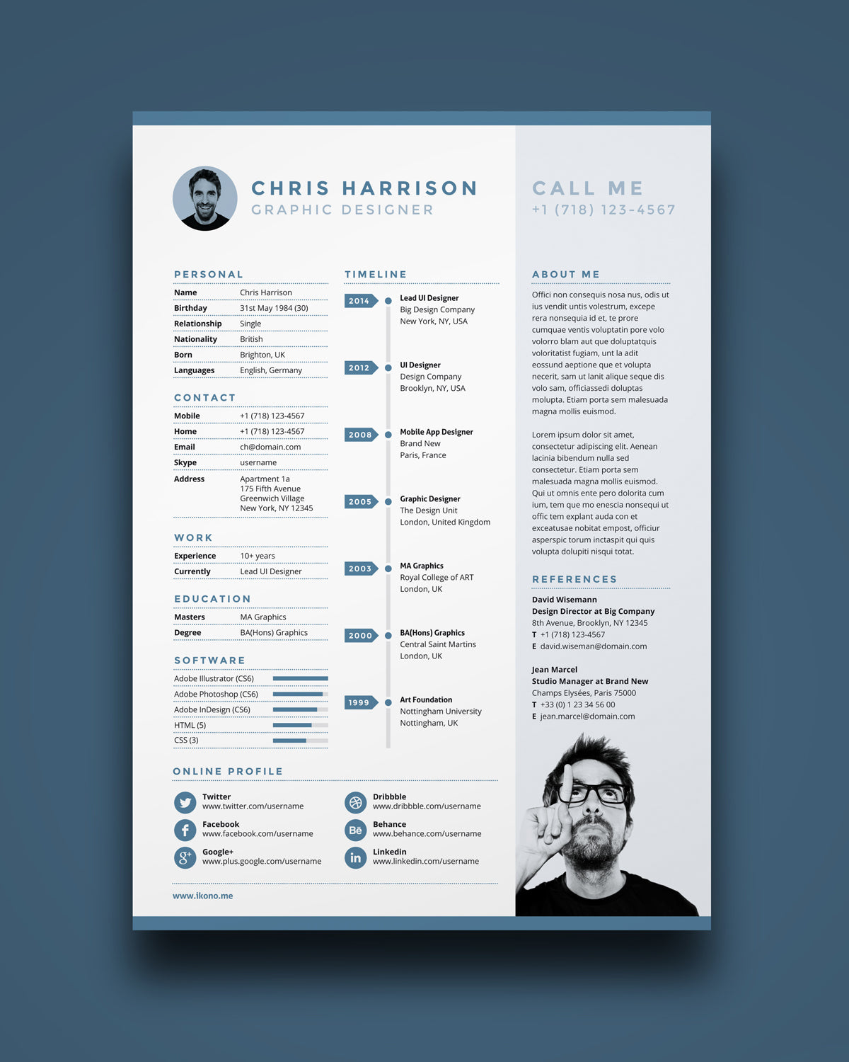 Free Resume Template In Photoshop PSD Illustrator AI And Indesign