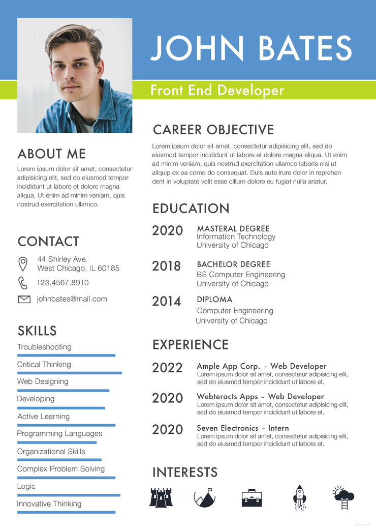 free front end developer resume cv template in photoshop