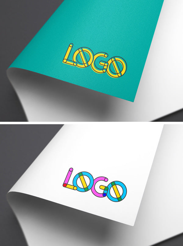 free full-color paper logo mockup
