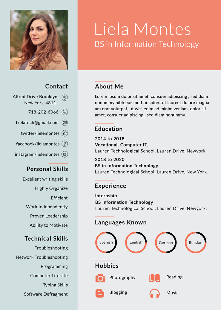Free Graduate Photo Resume Cv Template In Photoshop Psd Format