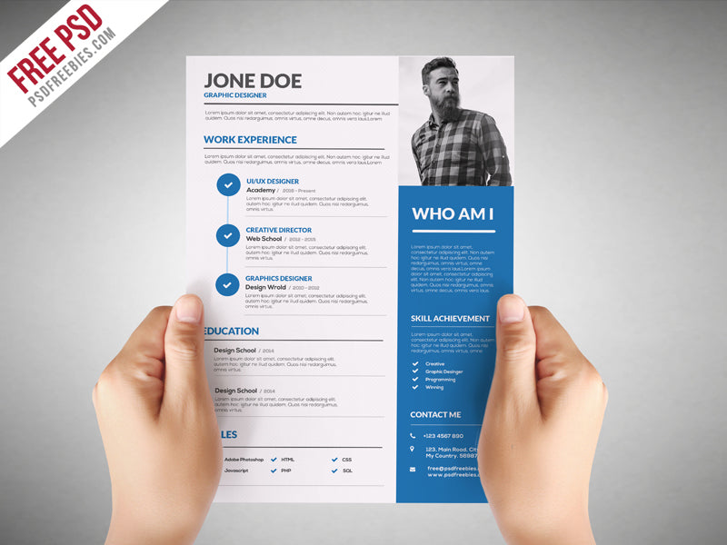 Free Graphic Designer CV Resume Template In Photoshop PSD