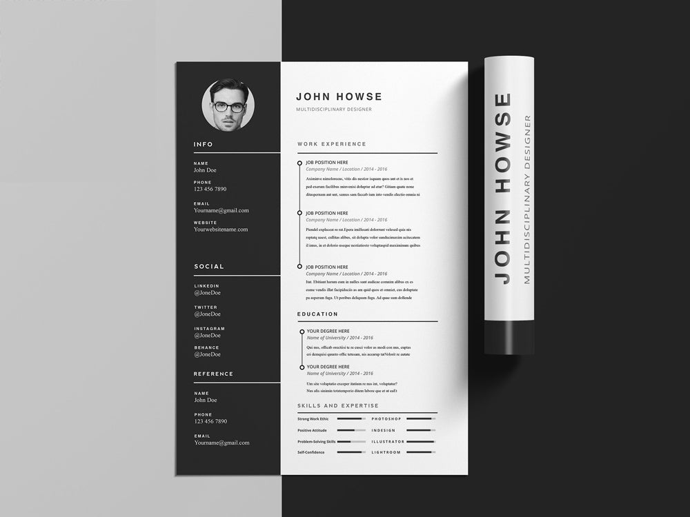 Free Clean CV Resume Template With Cover Letter In Photoshop PSD Illustrator