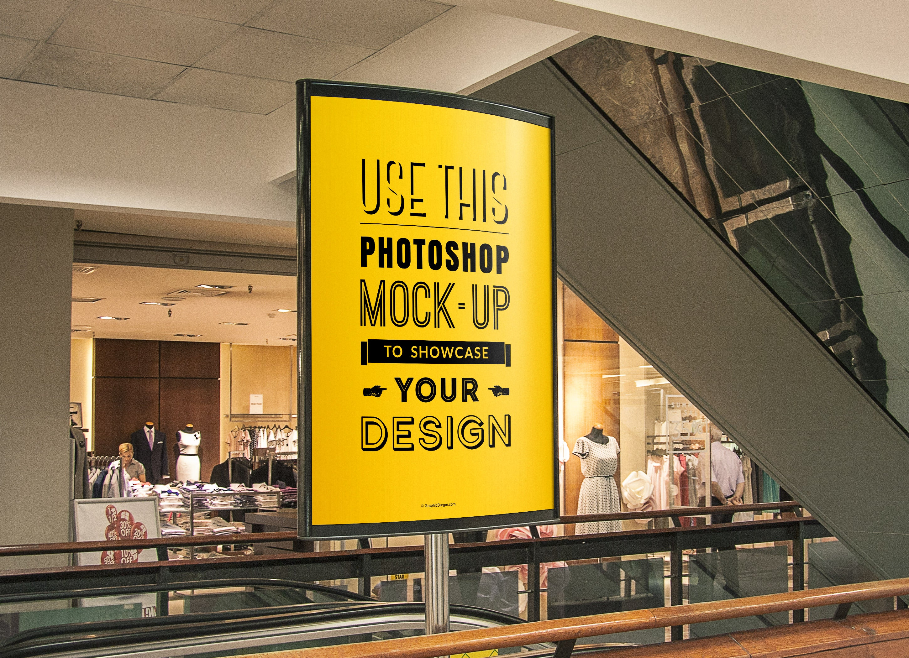 Free Mall Advertising Stand Or Sign Poster Mockup