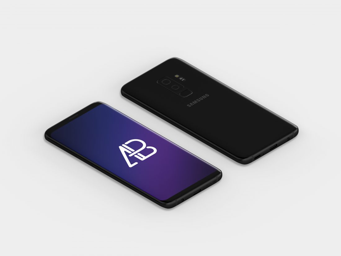 Isometric Samsung Galaxy S9 Plus Mockup