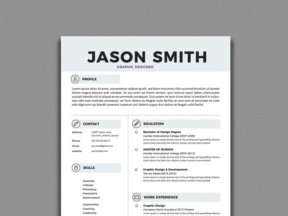 free simplistic resume cv template in illustrator  ai