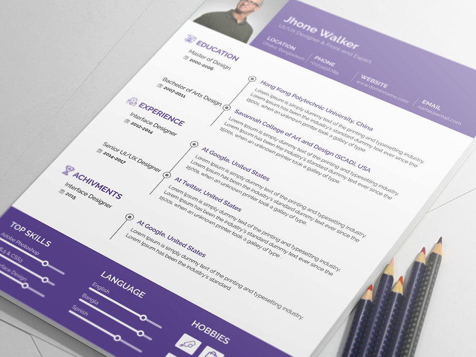 free minimal resume cv template in illustrator  ai  format